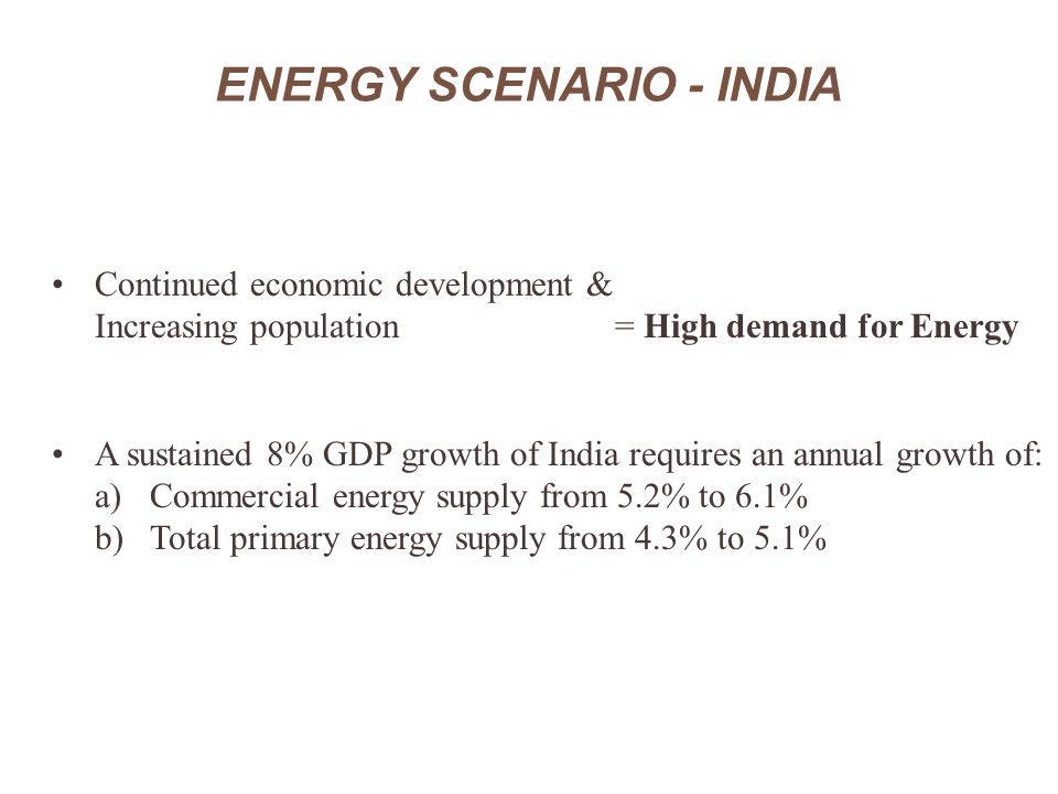 ENERGY SCENARIO - INDIA