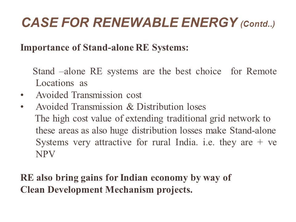 CASE FOR RENEWABLE ENERGY (Contd..)