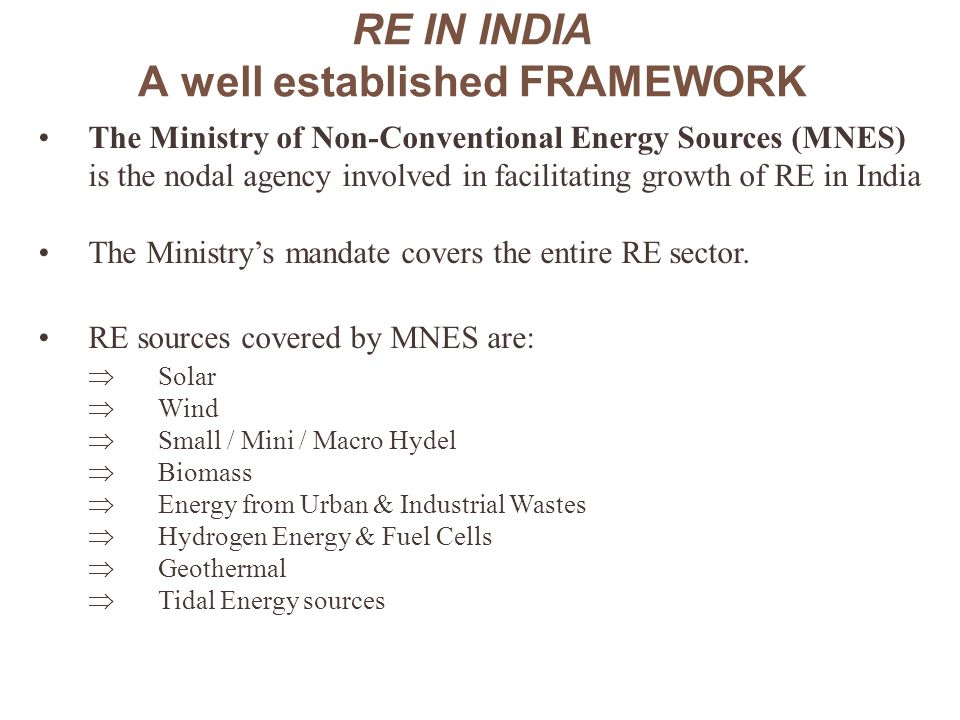 RE IN INDIA A well established FRAMEWORK