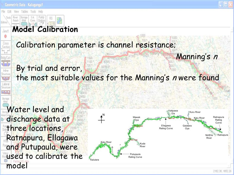 Model Calibration Calibration parameter is channel resistance; Manning's n. By trial and error,