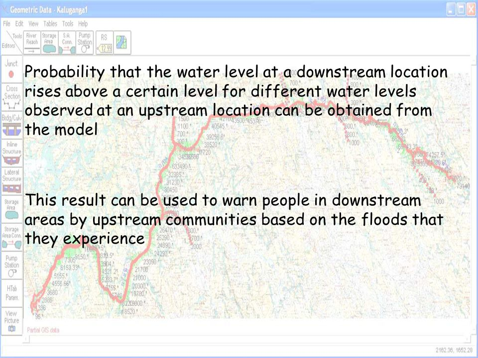 Probability that the water level at a downstream location rises above a certain level for different water levels observed at an upstream location can be obtained from the model