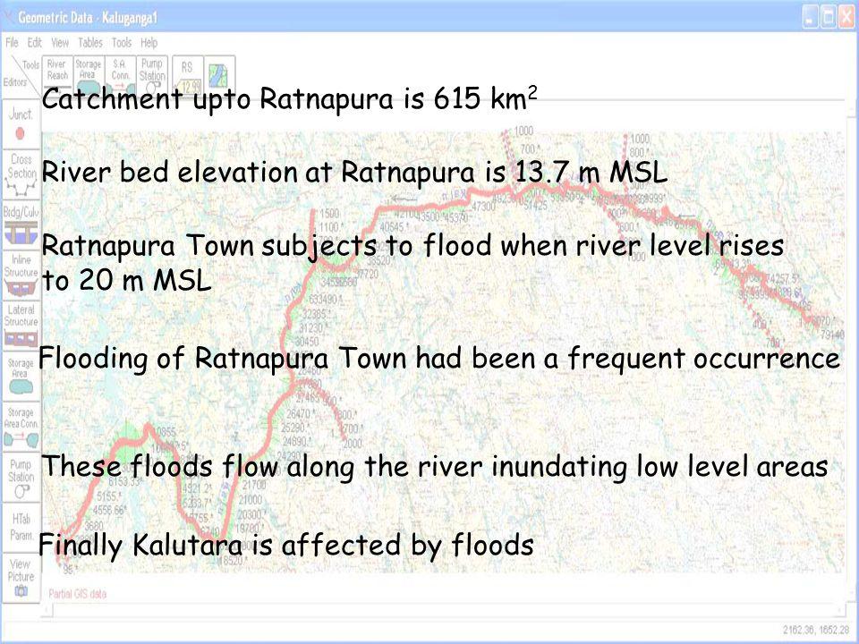 Catchment upto Ratnapura is 615 km2