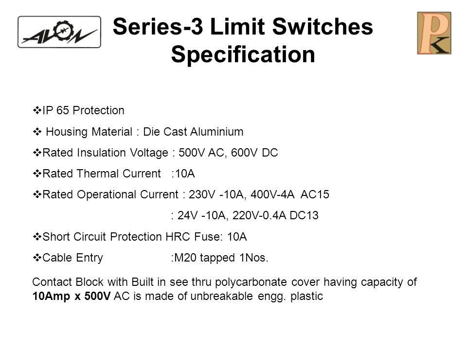 Series-3 Limit Switches Specification