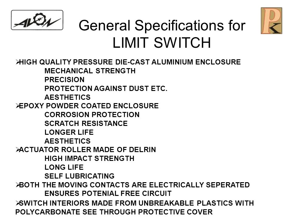 General Specifications for LIMIT SWITCH