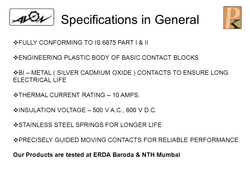Specifications in General