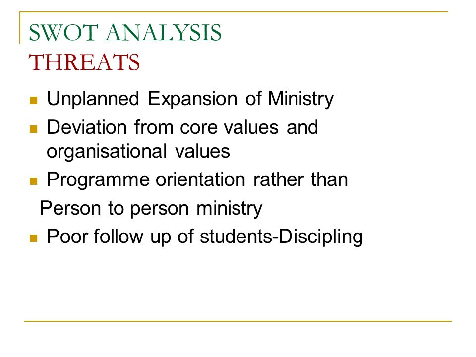 SWOT ANALYSIS THREATS Unplanned Expansion of Ministry