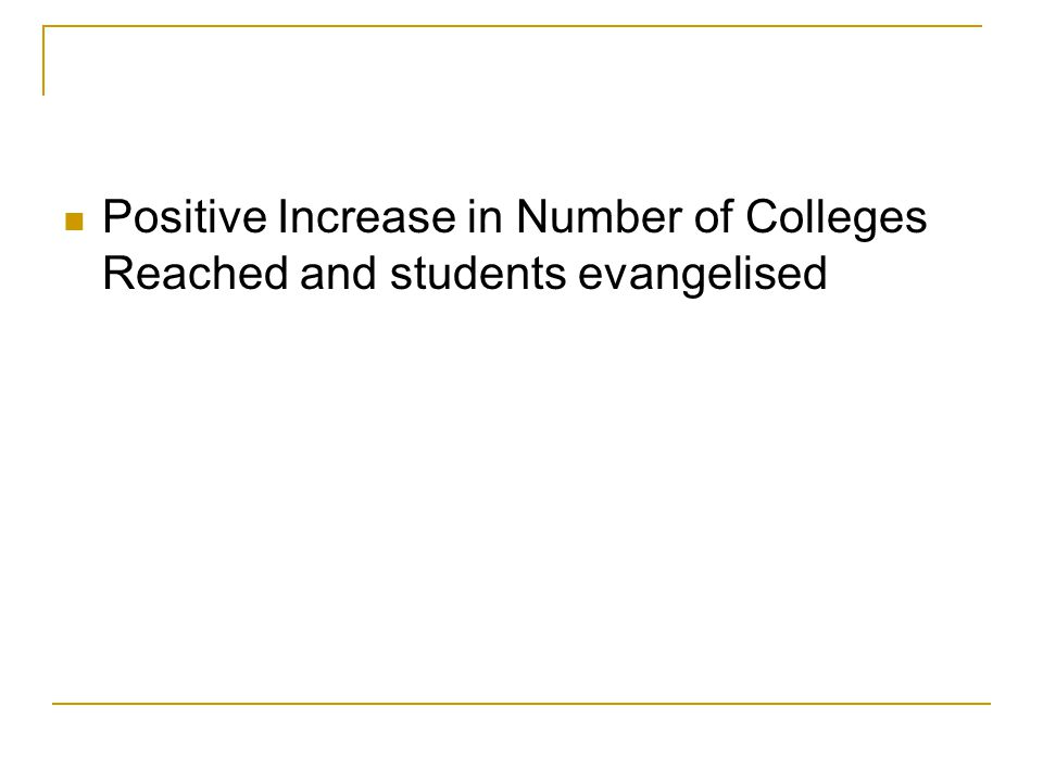 Positive Increase in Number of Colleges Reached and students evangelised