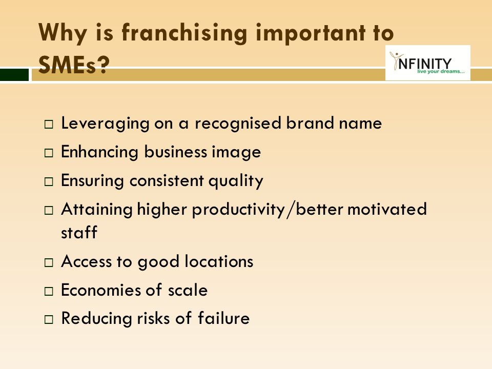 Why is franchising important to SMEs