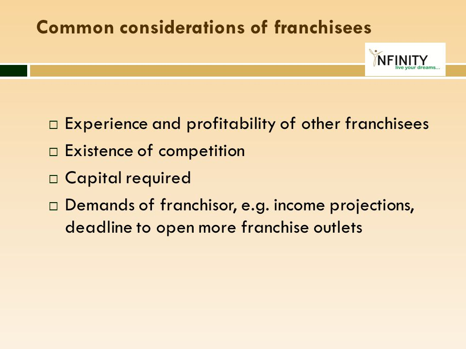Common considerations of franchisees