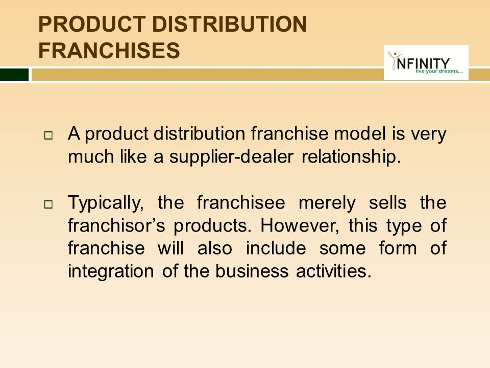 PRODUCT DISTRIBUTION FRANCHISES