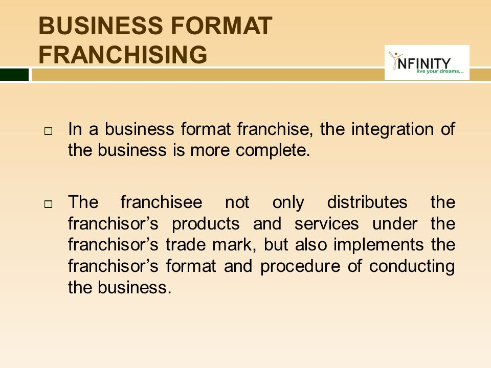 BUSINESS FORMAT FRANCHISING