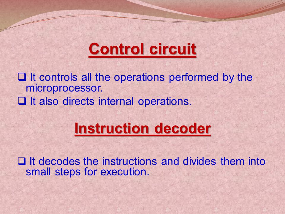 Control circuit Instruction decoder