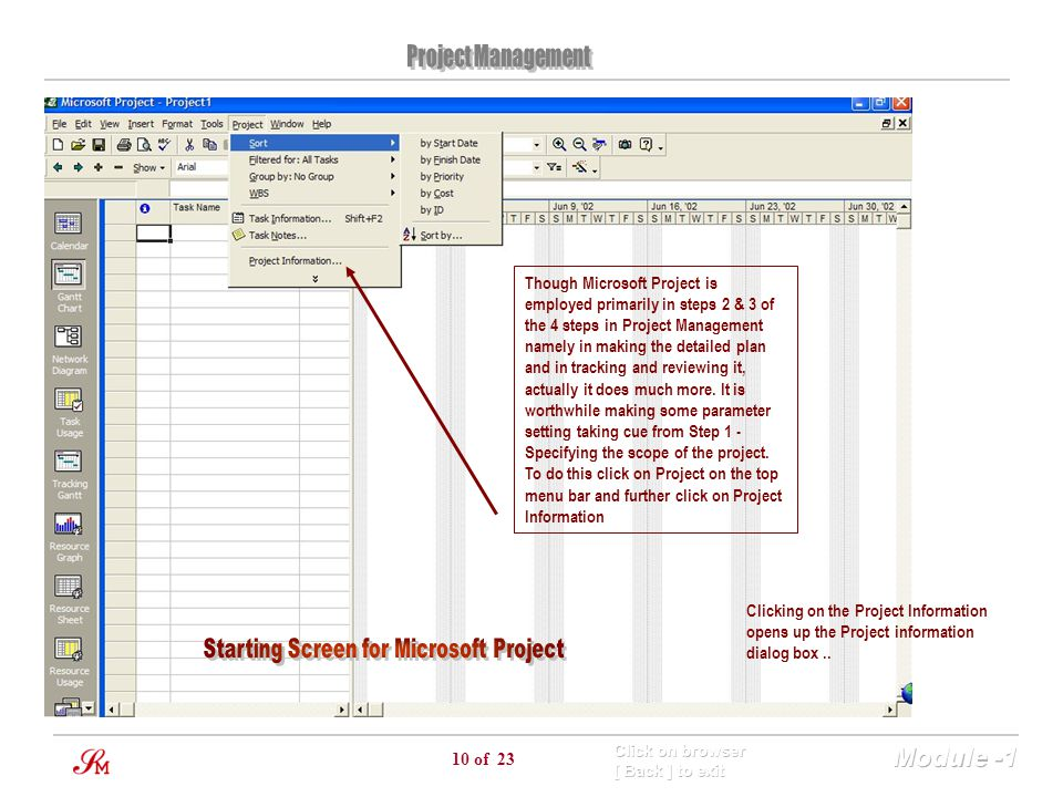 Starting Screen for Microsoft Project