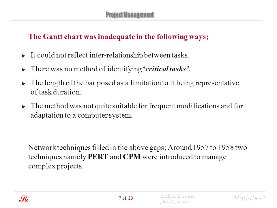 The Gantt chart was inadequate in the following ways;