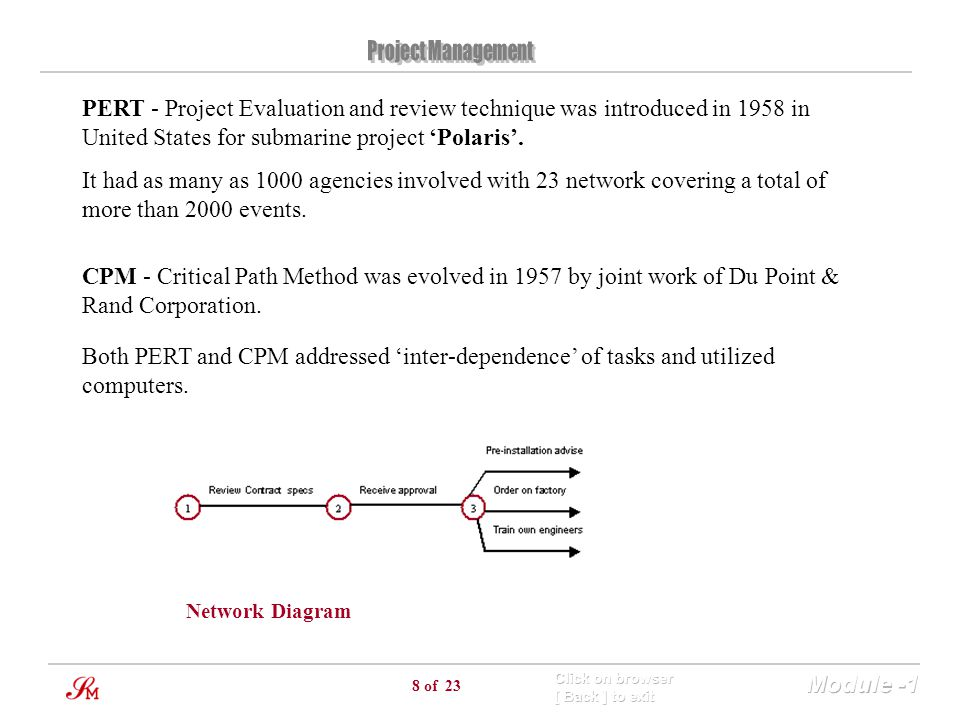PERT - Project Evaluation and review technique was introduced in 1958 in United States for submarine project 'Polaris'.