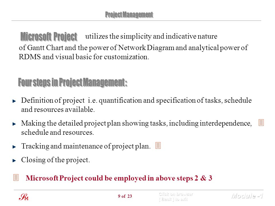 Four steps in Project Management :