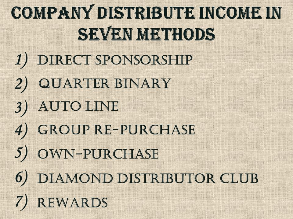 COMPANY DISTRIBUTE INCOME IN seven METHODs diamond Distributor CLUB