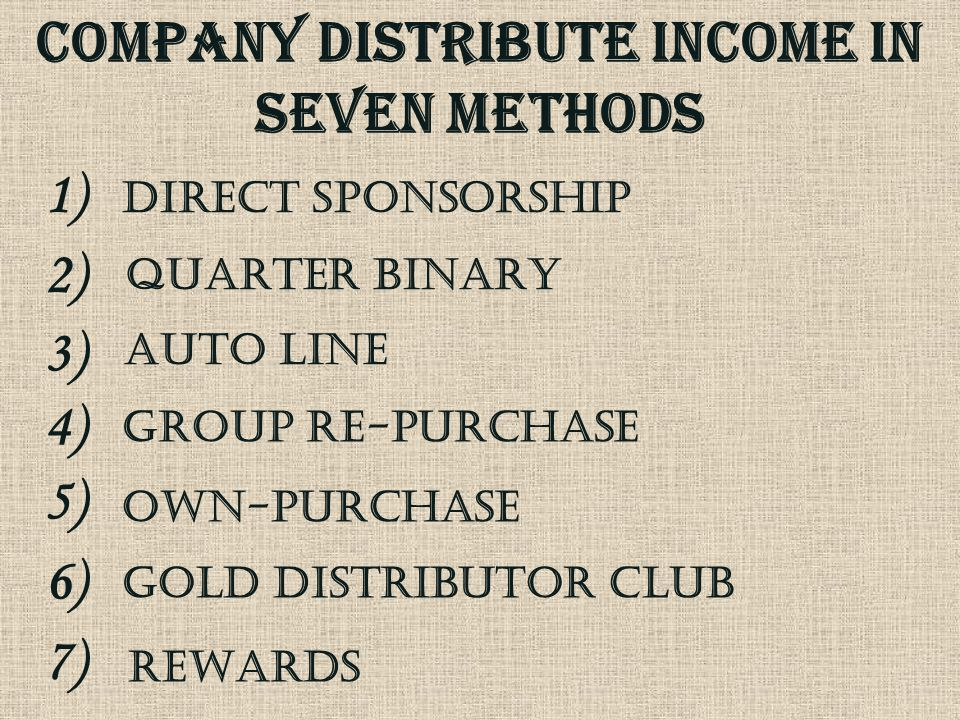 COMPANY DISTRIBUTE INCOME IN seven METHODs