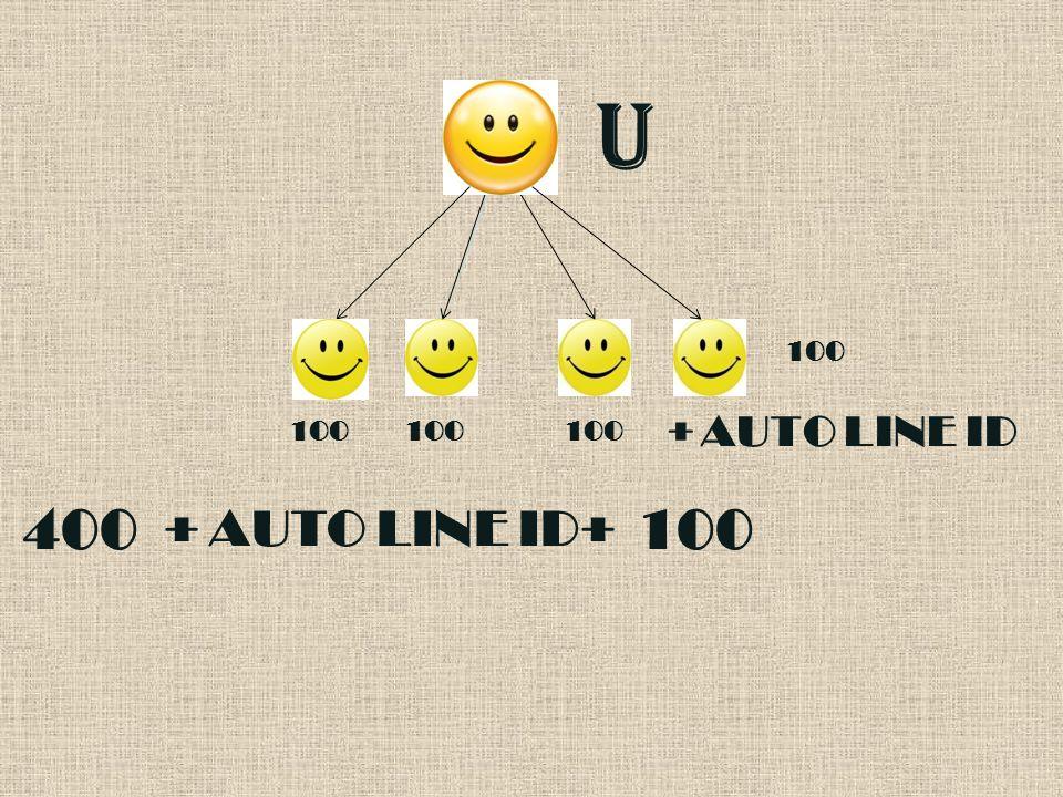 U 100 AUTO LINE ID 100 100 + 100 400 AUTO LINE ID 100 + +