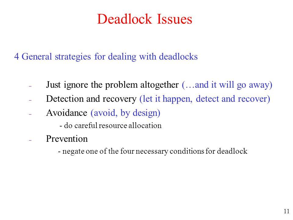 Deadlock Issues 4 General strategies for dealing with deadlocks