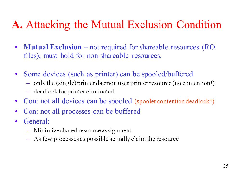 A. Attacking the Mutual Exclusion Condition