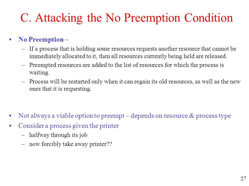 C. Attacking the No Preemption Condition