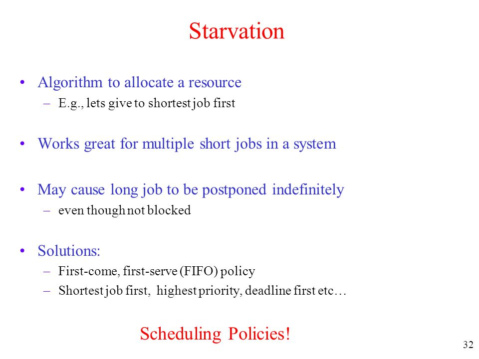 Starvation Algorithm to allocate a resource