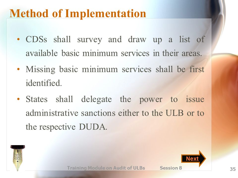 Method of Implementation