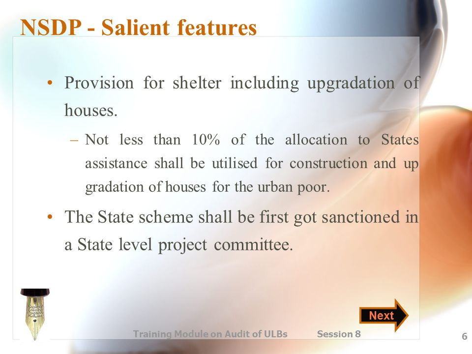 NSDP - Salient features