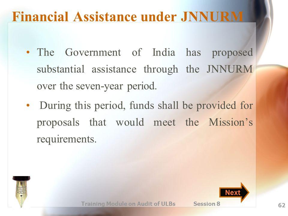 Financial Assistance under JNNURM