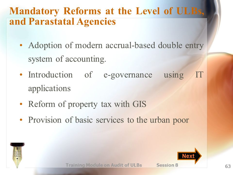 Mandatory Reforms at the Level of ULBs, and Parastatal Agencies