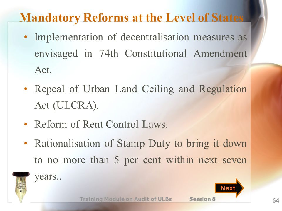 Mandatory Reforms at the Level of States