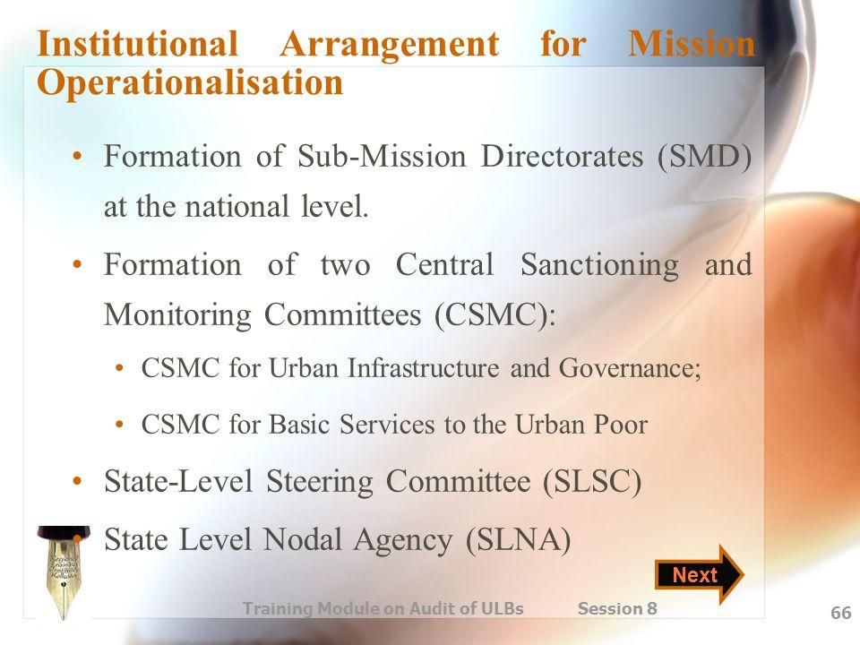 Institutional Arrangement for Mission Operationalisation