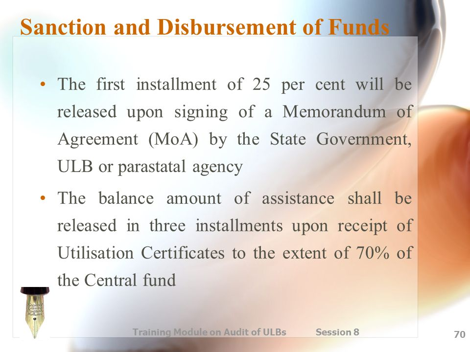 Sanction and Disbursement of Funds