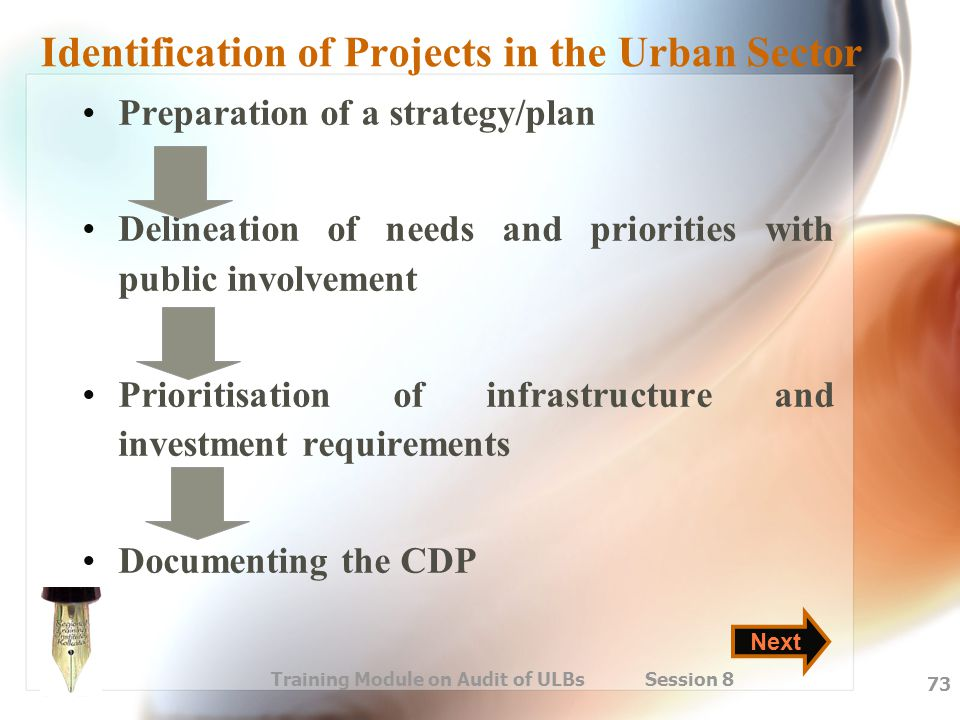 Identification of Projects in the Urban Sector