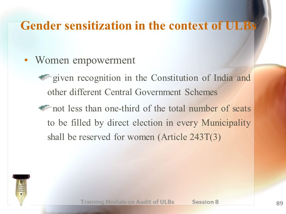 Gender sensitization in the context of ULBs