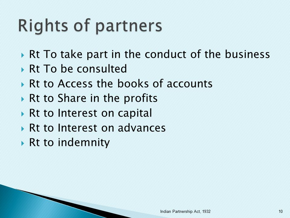 Rights of partners Rt To take part in the conduct of the business