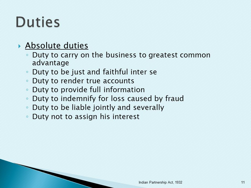 Duties Absolute duties
