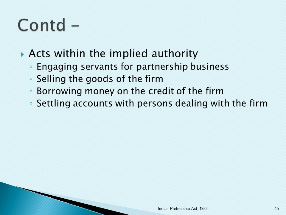 Contd - Acts within the implied authority