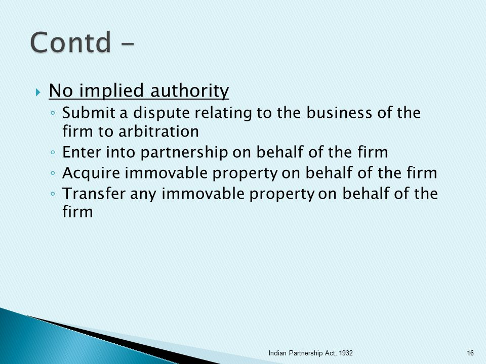 Contd - No implied authority