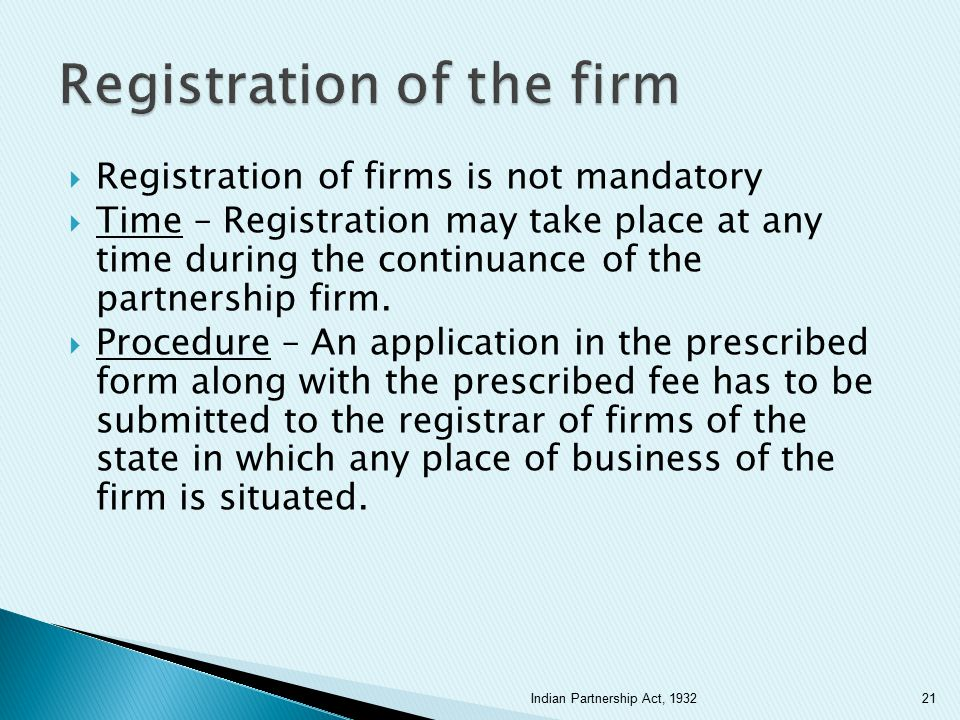 Registration of the firm