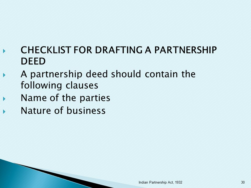 CHECKLIST FOR DRAFTING A PARTNERSHIP DEED