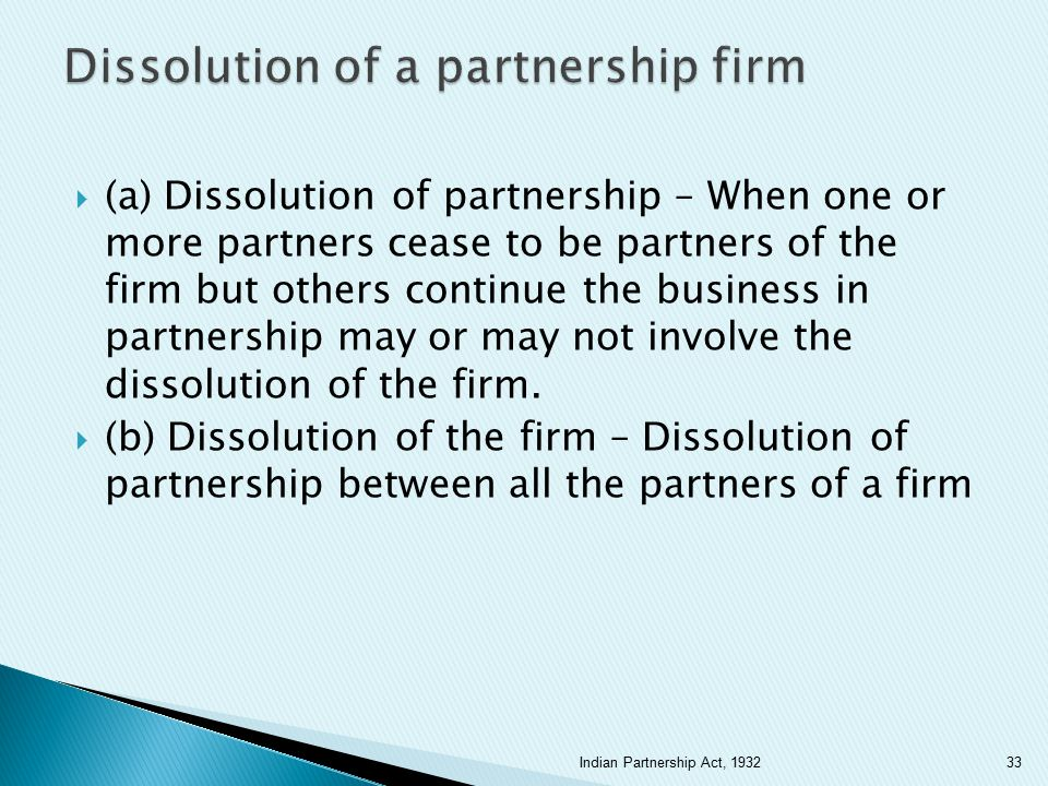 Dissolution of a partnership firm