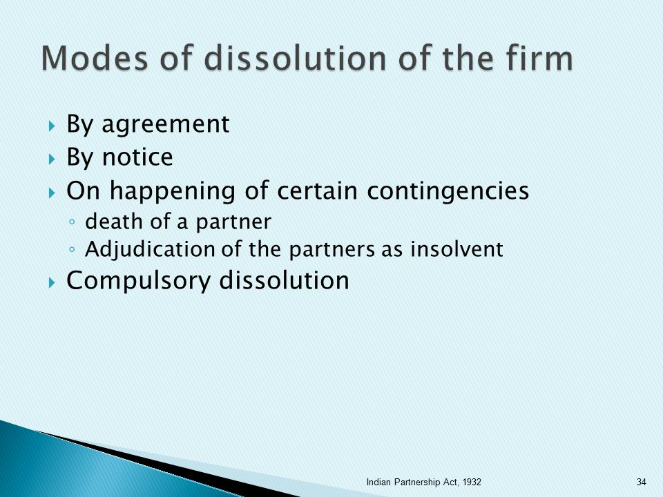 Modes of dissolution of the firm