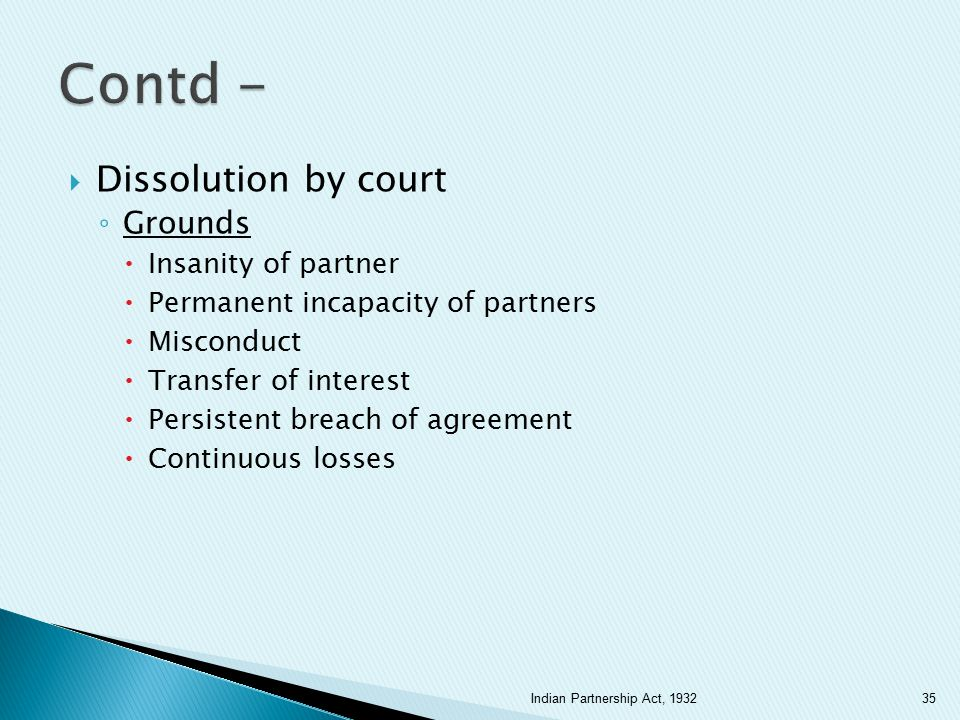 Contd - Dissolution by court Grounds Insanity of partner