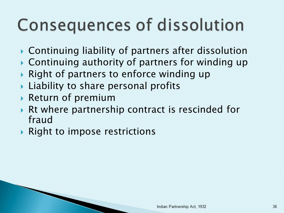 Consequences of dissolution