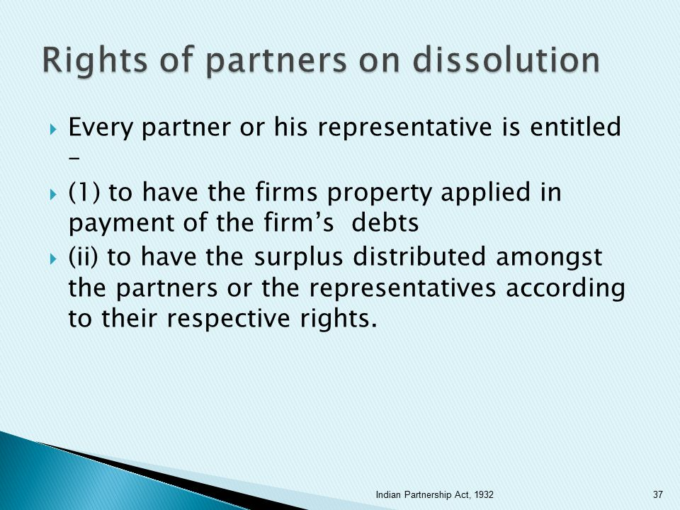Rights of partners on dissolution