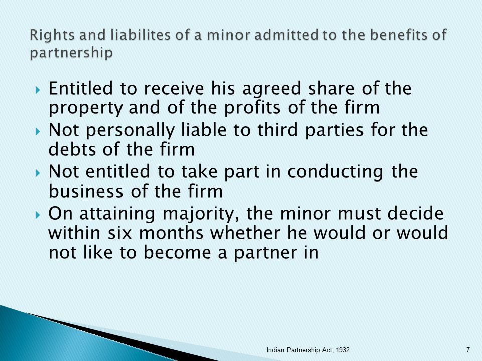 Not personally liable to third parties for the debts of the firm