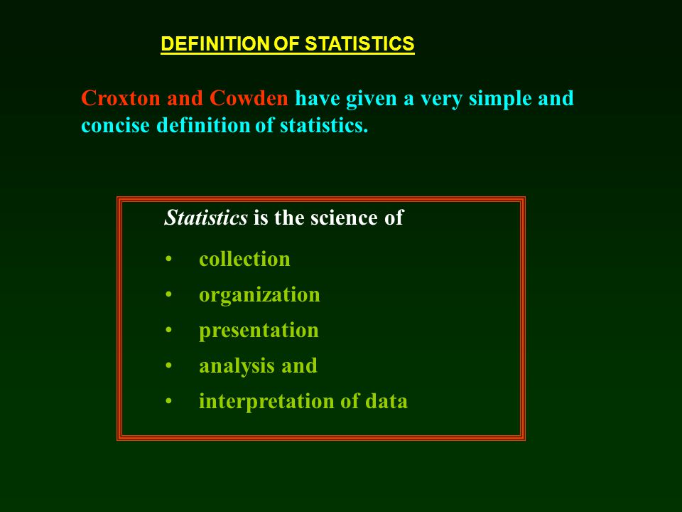 Statistics is the science of collection organization presentation