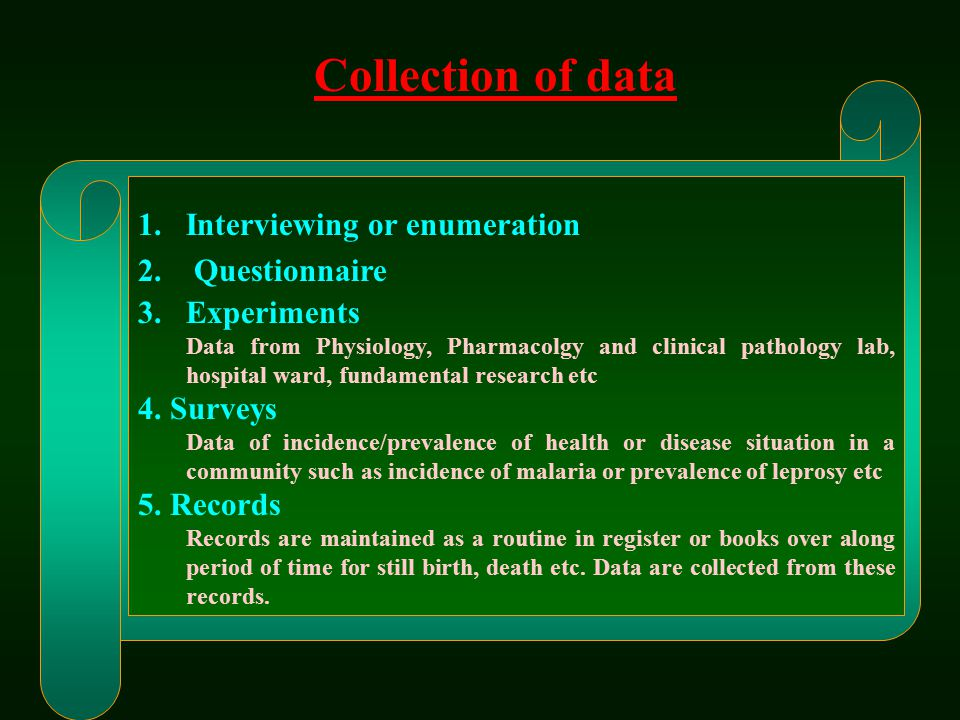Collection of data Interviewing or enumeration Questionnaire